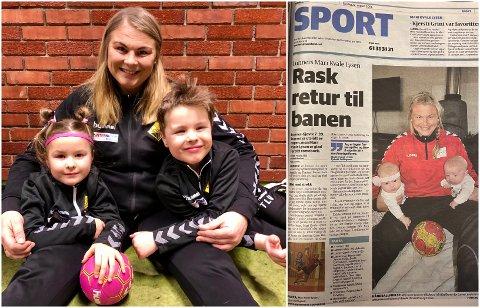 2021 og 2014: Mari og tvillingene Amalie og Timian i 2021 og artikkelen i Hadeland fra 2014.