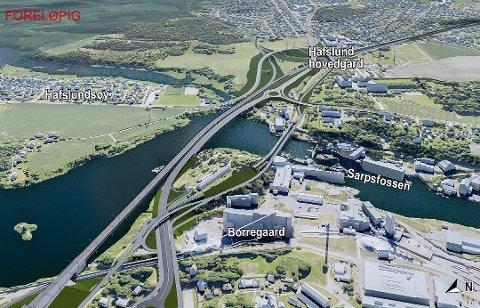 Til 7 milliarder: Jernbanen fra Borg Bryggerier til Klavestad i Sarpsborg er anslått til 7,0 milliarder. ( Illustrasjon: Bane NOR)