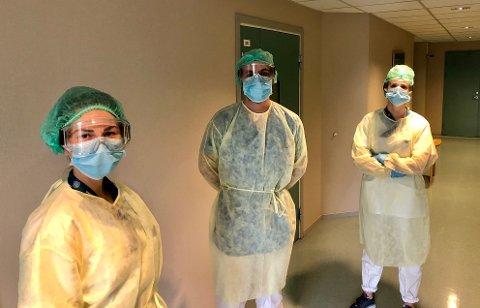 KORONAAVDELING: I femte etasje på Helsehuset tas det i mot pasienter smittet av korona. Dette bildet ble tatt av ansatte i marsmåned.