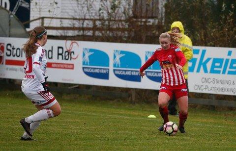 SCORET: Anna Jøsendal takket for tilliten med å score og å bli kåret til banens beste spiller av en lokal jury da hun debuterte fra start i siste serierunde for Avaldsnes.