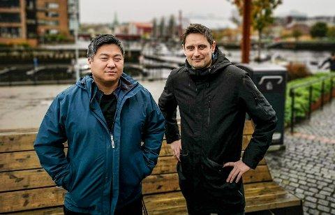 GRÜNDERE: F.v. Tom Reinert Johansen og Arnt Inge Sætern fra Hattfjelldal har startet sitt eget strømsleskap.