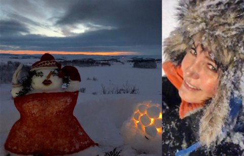 """GÅR OVER FJELLET: Therese Johansen Ingilæ går over Prestefjellet i Kirkenes hver dag når hun skal til jobb. Det hender seg også att """"Kirkenesdama"""" dukker opp da."""