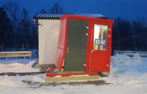 ALTA: Nødkiosken som ble påkjørt er ved E6, Storvikatunnelen i Alta.