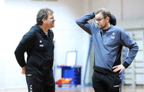 HVOR SKAL VI HEN? Nærbø-trenerne Rune Haugseng (t.v..) og Heine Jensen må ta spillerne sine med på langtur, enten til Luxemburg eller Sardinia.