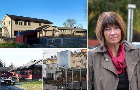 KLARE ANBEFALINGER: Kommunedirektør Inger Lysa anbefaler at Levangsheia skole (øverst) opprettholdes, eventuelt som et oppvekstsenter, og at ungdomstrinnene ved Sannidal ungdomsskole (t.v.) og Kragerø skole slås sammen.