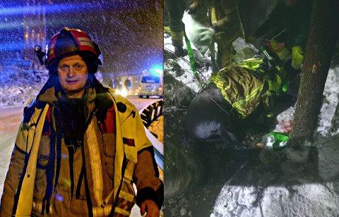 DRAMATISK: Nils-Olav Tveiten og Kongsberg Brann og redning rykket ut for å redde en hest torsdag kveld. Til høyre bildet fra aksjonen, der hesten delvis er dratt opp på land.