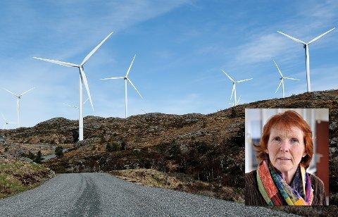 SKEPTISK: Ordføreren i Kongsberg, Kari Anne Sand (Sp), er ikke begeistret for at et område i Kongsberg er med som et alternativ i NVEs rapport om vindkraftutbygging.  Bildet viser Midtfjellet vindpark i Fitjar kommune.