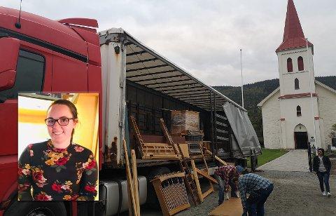 FLYTTES: Her skal det gamle orgelet fraktes bort fra Efteløt kirke. Bla i bildegalleriet for å se hele prosessen med fjerningen av orgelet.