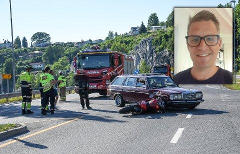ULYKKE: Thomas Rue kom fra ulykken med en knekt arm.