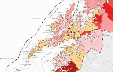 Intensiteten på rødfargen forteller om hvor mange smittede det er i forhold til innbyggertallet. Her gjelder det å være mest mulig blass!