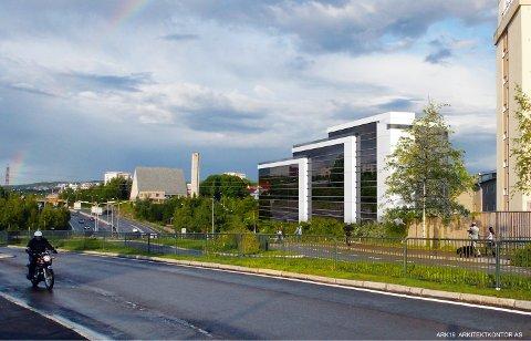 VEDTATT: I 2011 sa Oslo bystyre ja til at Obos kan bygge et stort næringsbygg i Byggveien 8 mellom Ryen og Manglerud. Illustrasjon: Obos forretningsbygg/Ark 19