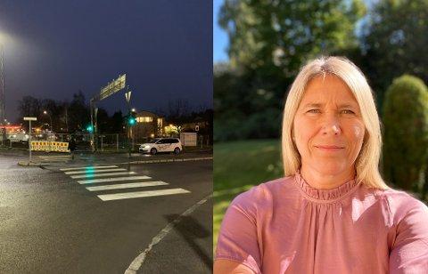 BYGGES NY SYKKELVEI: Rett utenfor Nedre Bekkelaget skole ble det bygget sykkelvei. Rektor Kjersti Dahl fikk ikke beskjed av Statens vegvesen i forkant.