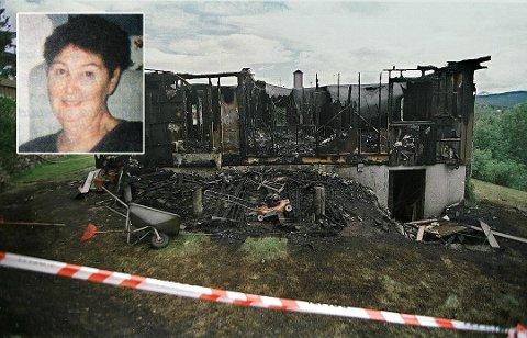 DREPT: Marie-Louise Bendiktsen (59) (innfelt) ble funnet død i brannruinene av sitt eget hus på Sjøvegan i juli 1998.