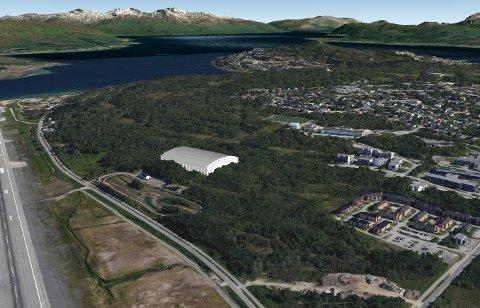 ALTERNATIV: Ved glattkjøringsbanen på Mortensnes jobber man med et alternativ for den ønskede, nye fotballhallen i Tromsø. SKISSE: Asplan Viak/Sune R. Jacobsen.