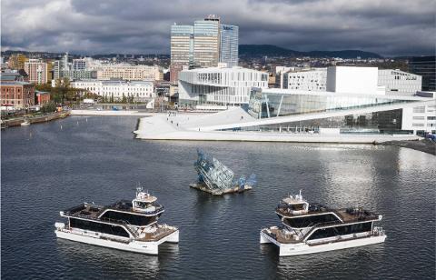 I OSLO: De to elektriske fartøyene «Brim» og «Bard» var i sommer i Oslo, der de fraktet folk rundt på Oslofjorden med ulike cruise.
