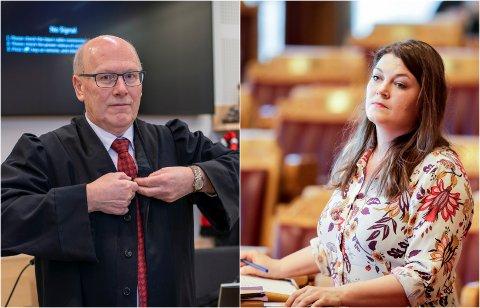 KREVER DEMANTI: Oddmund Enoksen, advokat for Nordnorsk kunstmuseum, og stortingsrepresentant Cecilie Myrseth (Ap).
