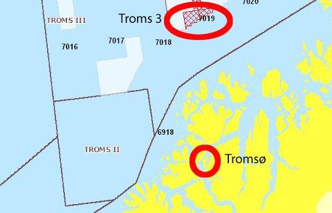 Det utlyste området på Troms 3 ligger like nord for Vannøya.