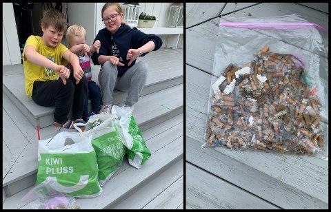 SØPPELPLUKKING: Kristian (9), Håkon (3) og Viktoria (10) har rensket Mariskovegen i Biri for sneiper.