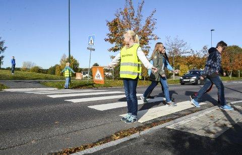 Viktig jobb: Skolepatruljen gjør en livsviktig jobb, men bilistene må følge trafikkreglene.arkivfoto