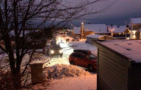 TRAFIKKFARLIG: Slik så det ut i Frostvedtveien om morgenen 9. januar i år.