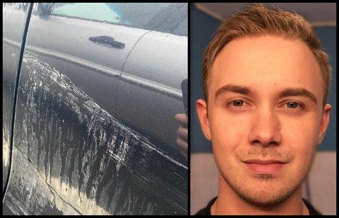 BULK OG RIPER: Tor Evald Bech ble ikke særlig glad da han så skadene på bilen. – Han bare stakk av. Så det blir nok dyrt, sier Bech.
