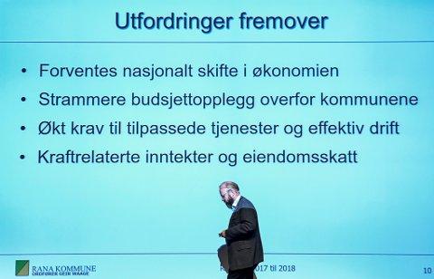 OPTIMISME OG UTFORDRINGER: Ranaordfører Geir Waage trakk under «ordførerfrokosten» fram både optimisme og utfordringer i året som kommer. Foto: Øyvind Bratt