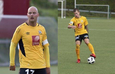 Stian Celius (t.v.) og Alexander Iversen er ute mot Melbo, men skal spille mot Hemnes IL i 5. divisjon.