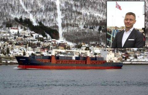 OLJE OG GODS: Godsskipet Norbjørn på tur inn til Tromsø. Innfelt: Eier og daglig leder i Marine Supply AS - Erik Mathisen.