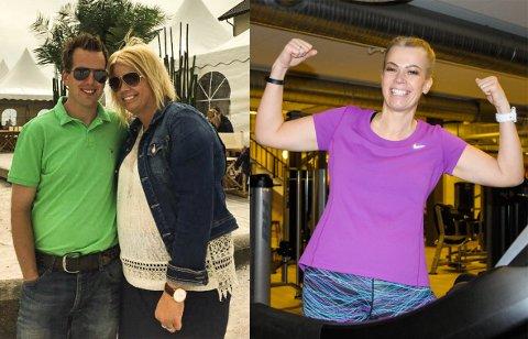STOR FORSKJELL: Lisbeth Bissan Hansen fikk nok av å være overvektig. På bildet til venstre veide hun 38 kilo mer enn på bilde til høyre. Samboer Magnus Hamborg støtter henne hele veien. Foto: Privat/Ingvild Drange Tronhus