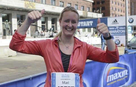 I MÅL: Mari Fjøsne hadde grunn til å være fornøyd etter at hun hadde fullført sitt aller første helmaratonløp.