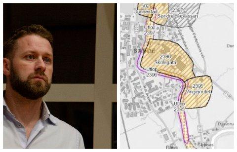 TRYGT: Prosjektleder Martin Hagen i Holmestrand kommune støtter seg til faglige råd som konkluderer med at områdestabiliteten er godt nok ivaretatt gjennom gjeldende krav i planarbeidet. Til høyre er kartet som NGI har lagt ved rapporten.