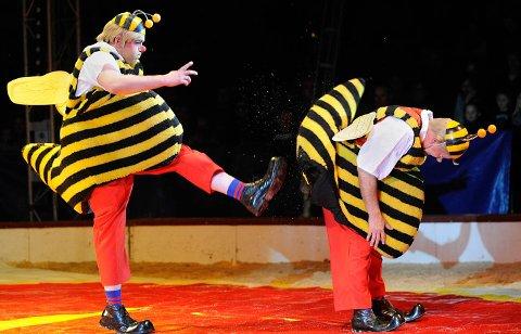 MUY BIEN: De spanske klovnene i Rampin Clowns visualiserer bienes travle oppgave med å samle inn honning til sin dronning.