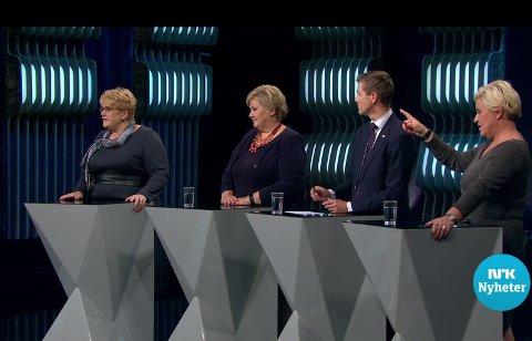 KJØR DEBATT: Politikerne sier det ikke, men det ser ut som de er sånn passe lei alle debattene de også. Man blir jo sliten av å måtte krangle så mye. Skjermdump fra NRK