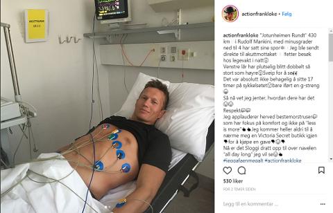 AKUTTEN: Frank Løke avslører på Instagram at han ble sendt til akutten natt til mandag.