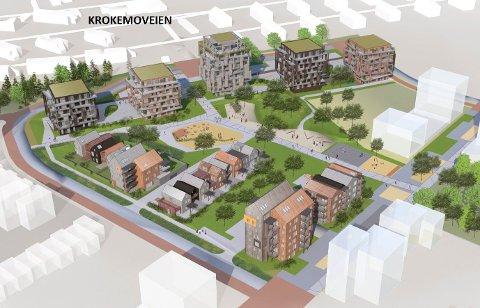 SANDEFJORD HAGEBY: I dette planlagte boligfetet på Sørby /Virik skal det bygges 600 boliger. Anleggsarbeidet ble påbegynt tidligere i år, og nå har området fått tre nye veinavn. (llustrasjon: KB Arkitekter)