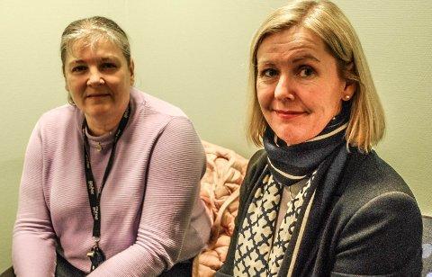ÅPENT MØTE: Alice Reigstad (til høyre) vil mandag orientere om kommunens hjemmetjenester i bystyresalen på rådhuset. Til venstre: Linda Engsmyr.