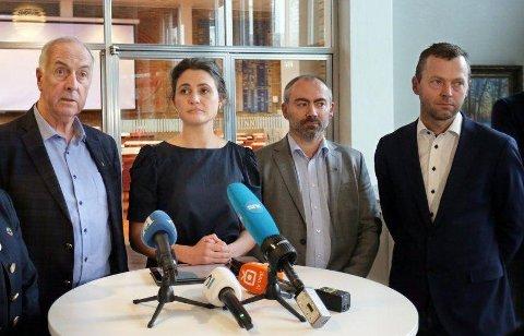 Stanley Wirak (Ap) Sandnes, Kari Nessa Nordtun (Ap) Stavanger, Tom Henning Slethei (Frp) Sola, og Jarle Bø (Sp) fra Randaberg i mars 2020. Det legges nå opp til et mer normalt skole- og barnehageår.