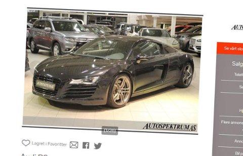 Audi R8 til litt over 600.000 kroner. Da begynner det å bli oppnåelig for ganske mange ... Faksimile: Finn.no