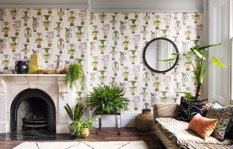 PERSONLIG STIL: Med tapet på veggen kan du virkelig leke deg og skape en personlig stue. Foto: Borge/ANB