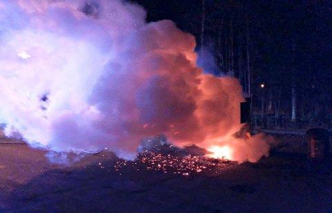 BRANT: Containeren sto i full fyr da brannvesenet kom til stedet.