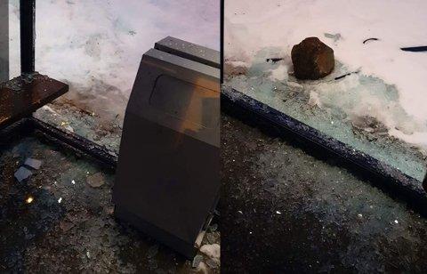 FORTVILENDE: Igjen ble et busskur i Tromsø knust.