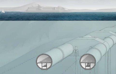 Slik kan en rørbro i Bjørnefjorden se ut. Prislappen på prosjektet er i dag oppe i 27 milliarder kroner. ILLUSTRASJON: STATENS VEGVESEN