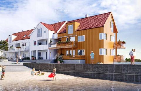 """FØRSTE BOLIGENE: I midten av juni overtas de første boligene i Risørs """"nyeste bydel"""". Bildet stammer fra prospektet til utbyggeren."""