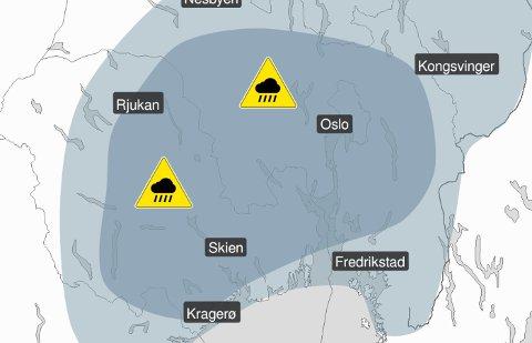 STYRTREGNET KOMMER: Det er sendt ut gult farevarsel for Østlandet, i forbindelse med lokale regnbyger ventet utover ettermiddagen og kvelden mandag.