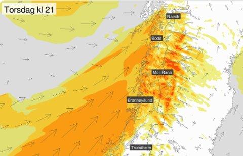 Meteorologene på Twitter melder om dårlig vær fra torsdag kveld.