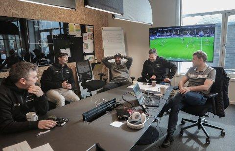 Dagen etter seieren over Rosenborg.Serieåpning 2019.Frode Thomassen, Håvard Sakariassen, Ørjan Heldal, Kjetil Knutsen og Aasmund Bjørkan. Bodø/Glimt