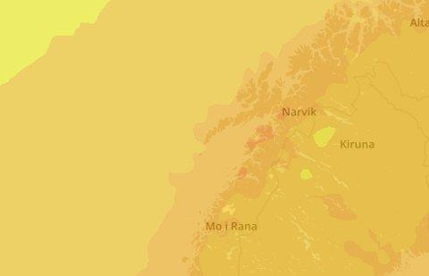 Storm varsler om temperaturer rundt 20 grader i Salten i helga. Her prognosene for sløndag i 14-tiden.