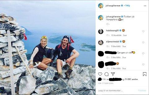 SANDHORNET: Therese Johaug og kjæresten Nils Jakob Hoff har tilbrakt sommerferien i Salten og Nordland. Her fra deres tur til Sandhornet.