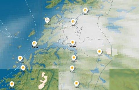 Det ser ut til å bli et stabilt grått vær denne uka i Salten, men vakthavende meteorolog i Storm Geo, Olav Krogsæter, mener at én dag skiller seg ut fra de andre, med positivt fortegn. Foto: Yr.no/Skjermdump