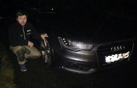 Markus Isdahl (21) fikk seg en real støkk. – Det var et mirakel at vi klarte å rette opp bilen igjen.